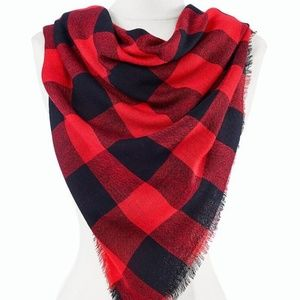 Talbots Red Black Plaid Large Scarf